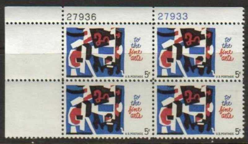 "Scott 1259 Plate Block (5 cents) <p> <a href=""/images/USA-Scott-1259-PB.jpg""><font color=green><b>View the image</a></b></font>"
