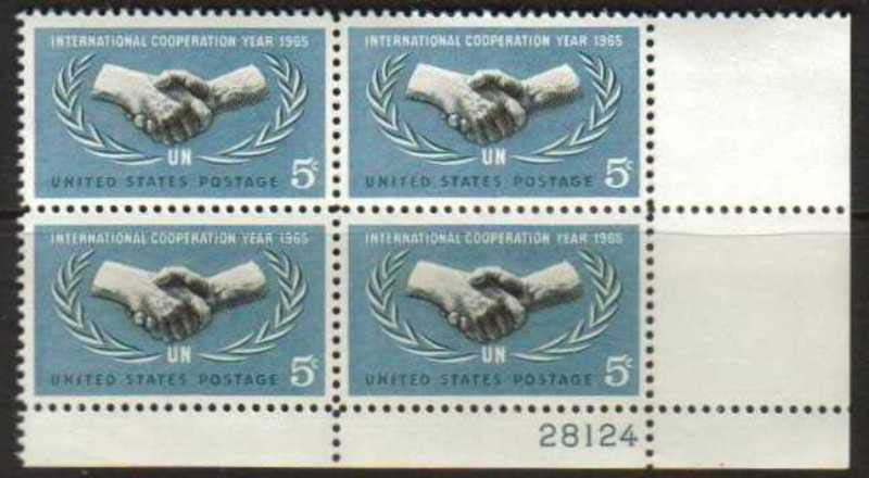 "Scott 1266 Plate Block (5 cents) <p> <a href=""/images/USA-Scott-1266-PB.jpg""><font color=green><b>View the image</a></b></font>"