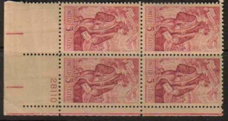 "Scott 1268 Plate Block (5 cents) <p> <a href=""/images/USA-Scott-1268-PB.jpg""><font color=green><b>View the image</a></b></font>"