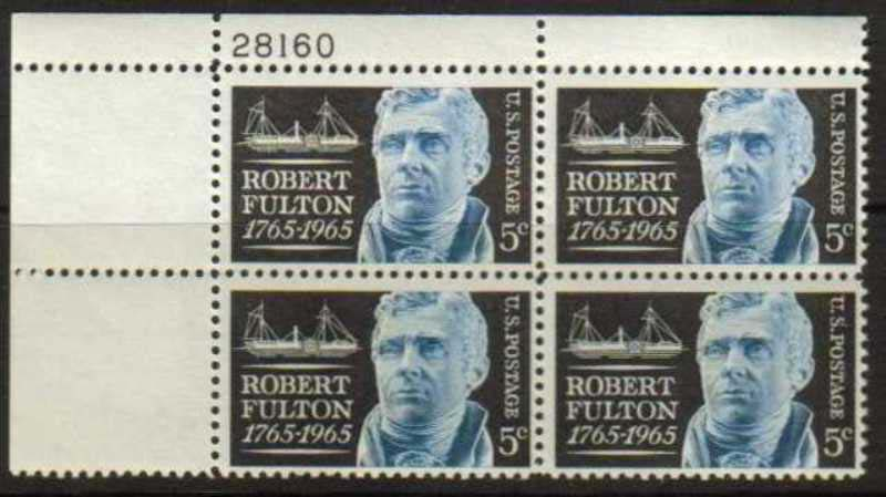 "Scott 1270 Plate Block (5 cents) <p> <a href=""/images/USA-Scott-1270-PB.jpg""><font color=green><b>View the image</a></b></font>"