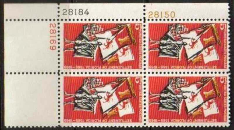 "Scott 1271 Plate Block (5 cents) <p> <a href=""/images/USA-Scott-1271-PB.jpg""><font color=green><b>View the image</a></b></font>"