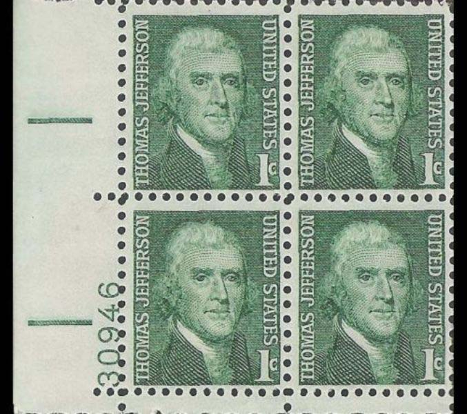 "Scott 1278 Plate Block (1 cents) <p> <a href=""/images/USA-Scott-1278-PB.jpg""><font color=green><b>View the image</a></b></font>"