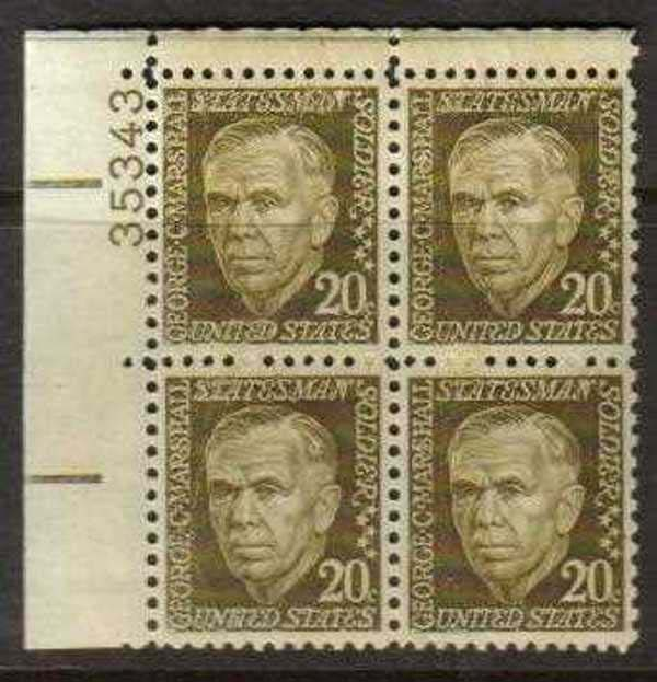 "Scott 1289 Plate Block (20 cents) <p> <a href=""/images/USA-Scott-1289-PB.jpg""><font color=green><b>View the image</a></b></font>"