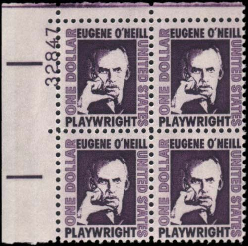 Scott 1294 Eugene O'Neill Plate Block (Face 4.00) <p> <a href=&quot;/images/USA-Scott-1294-PB.jpg&quot;><font color=green><b>View the image</a></b></font>
