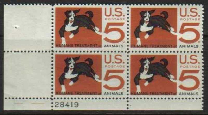 "Scott 1307 Plate Block (5 cents) <p> <a href=""/images/USA-Scott-1307-PB.jpg""><font color=green><b>View the image</a></b></font>"