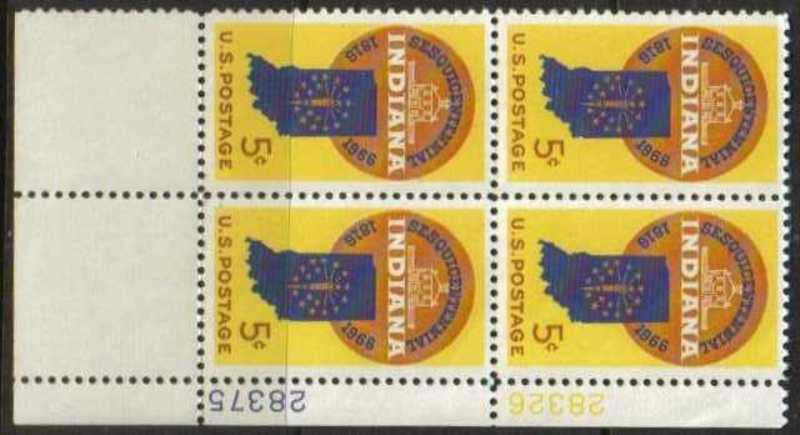 "Scott 1308 Plate Block (5 cents) <p> <a href=""/images/USA-Scott-1308-PB.jpg""><font color=green><b>View the image</a></b></font>"