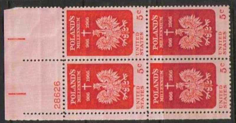 "Scott 1313 Plate Block (5 cents) <p> <a href=""/images/USA-Scott-1313-PB.jpg""><font color=green><b>View the image</a></b></font>"