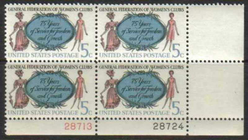 "Scott 1316 Plate Block (5 cents) <p> <a href=""/images/USA-Scott-1316-PB.jpg""><font color=green><b>View the image</a></b></font>"