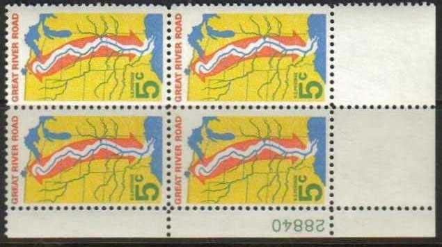 "Scott 1319 Plate Block (5 cents) <p> <a href=""/images/USA-Scott-1319-PB.jpg""><font color=green><b>View the image</a></b></font>"