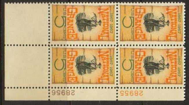 "Scott 1323 Plate Block (5 cents) <p> <a href=""/images/USA-Scott-1323-PB.jpg""><font color=green><b>View the image</a></b></font>"
