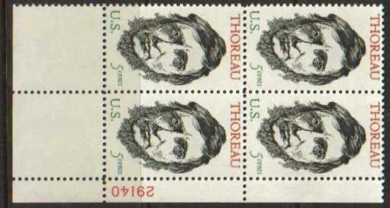 "Scott 1327 Plate Block (5 cents) <p> <a href=""/images/USA-Scott-1327-PB.jpg""><font color=green><b>View the image</a></b></font>"