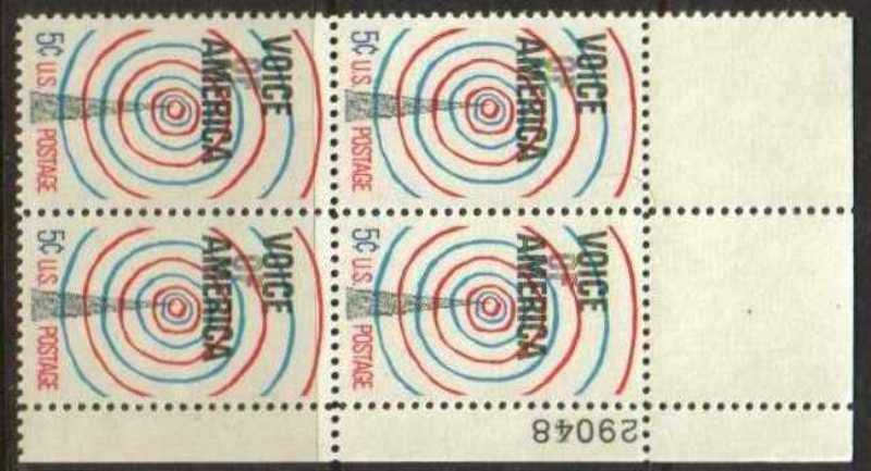 "Scott 1329 Plate Block (5 cents) <p> <a href=""/images/USA-Scott-1329-PB.jpg""><font color=green><b>View the image</a></b></font>"