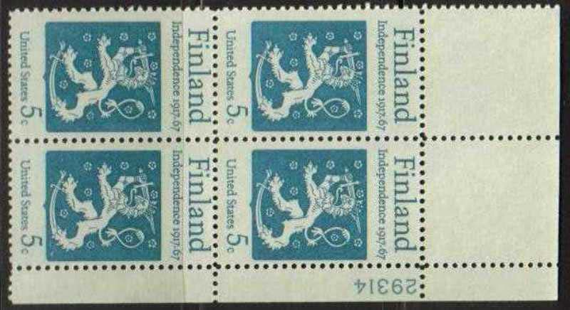 "Scott 1334 Plate Block (5 cents) <p> <a href=""/images/USA-Scott-1334-PB.jpg""><font color=green><b>View the image</a></b></font>"