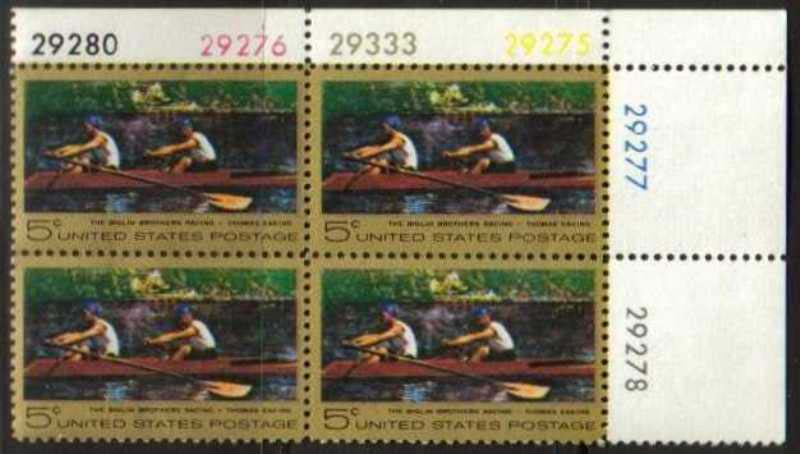 "Scott 1335 Plate Block (5 cents) <p> <a href=""/images/USA-Scott-1335-PB.jpg""><font color=green><b>View the image</a></b></font>"