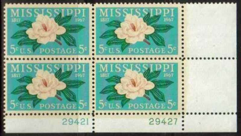 "Scott 1337 Plate Block (5 cents) <p> <a href=""/images/USA-Scott-1337-PB.jpg""><font color=green><b>View the image</a></b></font>"