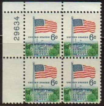 "Scott 1338 Plate Block (6 cents) <p> <a href=""/images/USA-Scott-1338-PB.jpg""><font color=green><b>View the image</a></b></font>"