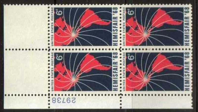 "Scott 1340 Plate Block (6 cents) <p> <a href=""/images/USA-Scott-1340-PB.jpg""><font color=green><b>View the image</a></b></font>"