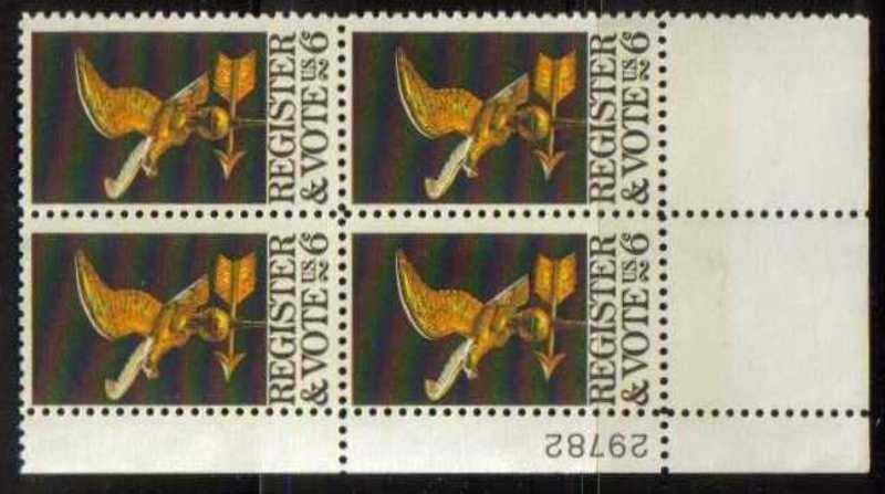 "Scott 1344 Plate Block (6 cents) <p> <a href=""/images/USA-Scott-1344-PB.jpg""><font color=green><b>View the image</a></b></font>"
