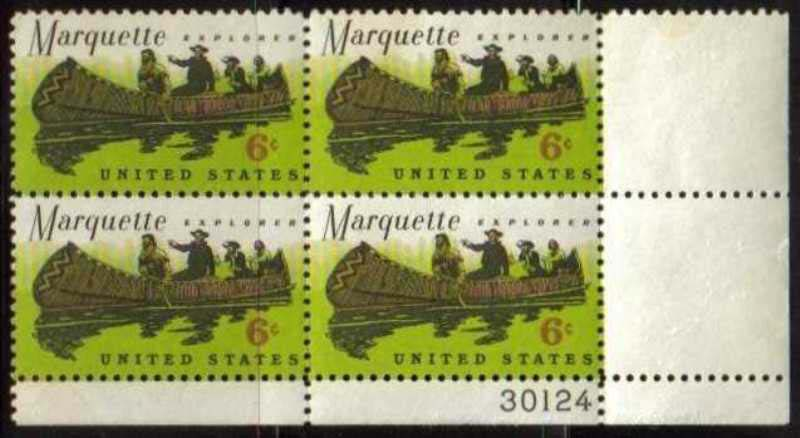 "Scott 1356 Plate Block (6 cents) <p> <a href=""/images/USA-Scott-1356-PB.jpg""><font color=green><b>View the image</a></b></font>"