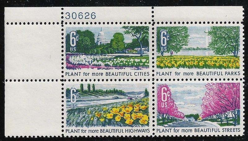 "Scott 1365-1368 Plate Block (6 cents) <p> <a href=""/images/USA-Scott-1365-1368-PB.jpg""><font color=green><b>View the image</a></b></font>"