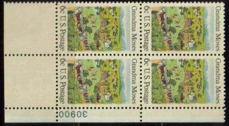 "Scott 1370 Plate Block (6 cents) <p> <a href=""/images/USA-Scott-1370-PB.jpg""><font color=green><b>View the image</a></b></font>"