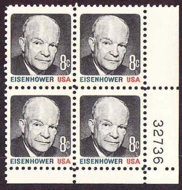"Scott 1394 Plate Block (8 cents) <p> <a href=""/images/USA-Scott-1394-PB.jpg""><font color=green><b>View the image</a></b></font>"
