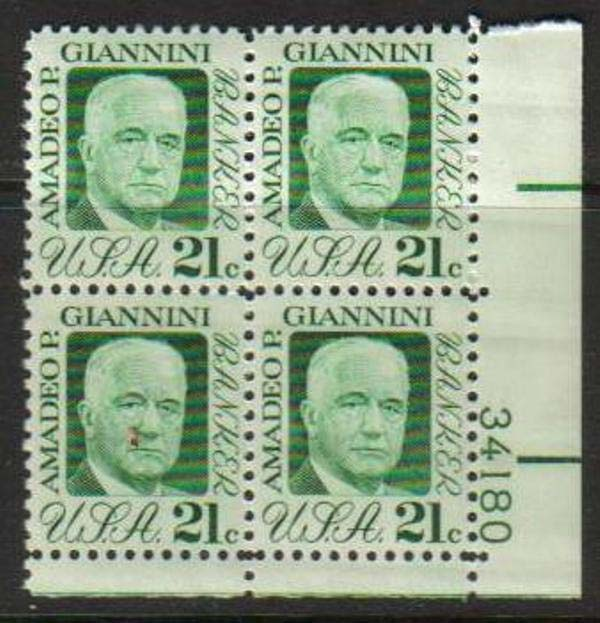 "Scott 1400 Plate Block (21 cents) <p> <a href=""/images/USA-Scott-1400-PB.jpg""><font color=green><b>View the image</a></b></font>"