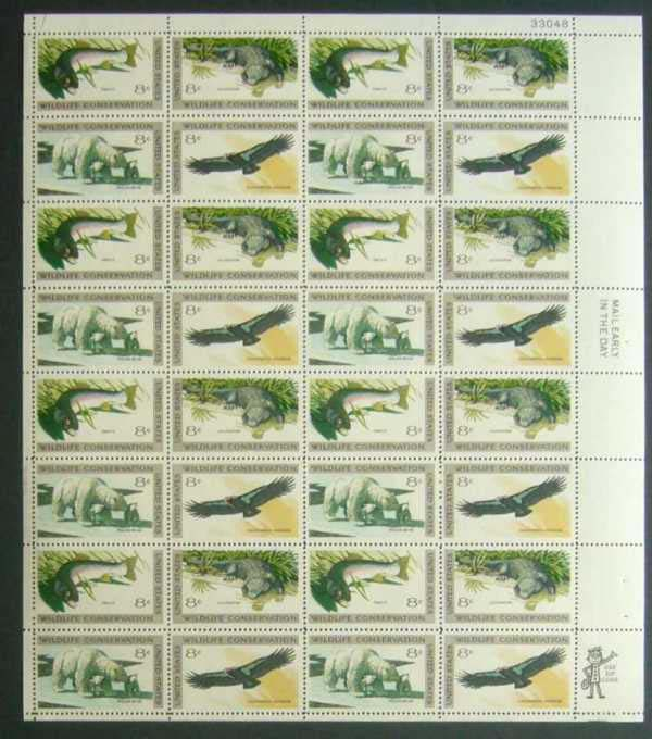 "Scott 1427-1430 Sheet (8 cents) <p> <a href=""/images/USA-Scott-1427-1430-Sheet.jpg""><font color=green><b>View the image</a></b></font>"