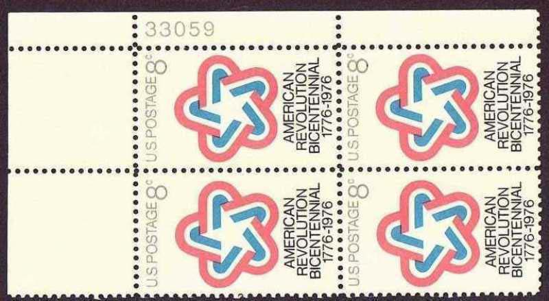"Scott 1432 Plate Block (8 cents) <p> <a href=""/images/USA-Scott-1432-PB.jpg""><font color=green><b>View the image</a></b></font>"
