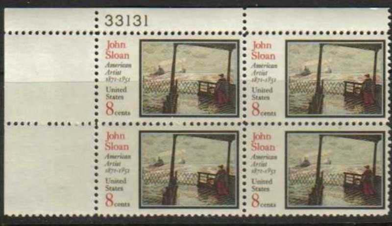 "Scott 1433 Plate Block (8 cents) <p> <a href=""/images/USA-Scott-1433-PB.jpg""><font color=green><b>View the image</a></b></font>"