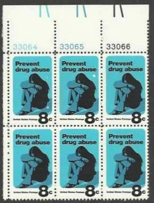 "Scott 1438 Plate Block of 6 (8 cents) <p> <a href=""/images/USA-Scott-1438-PB-6.jpg""><font color=green><b>View the image</a></b></font>"