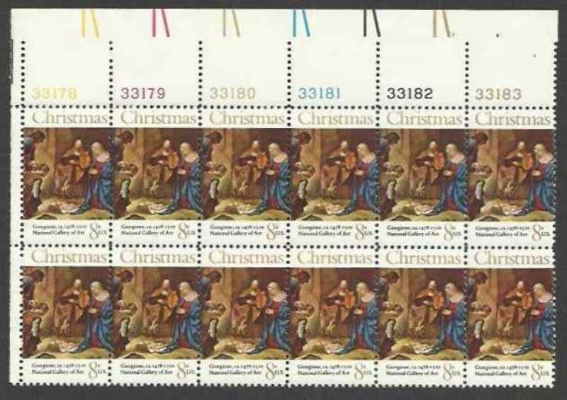 "Scott 1444 Plate Block of 12 (8 cents) <p> <a href=""/images/USA-Scott-1444-PB-12.jpg""><font color=green><b>View the image</a></b></font>"
