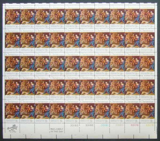 "Scott 1444 Sheet (8 cents) <p> <a href=""/images/USA-Scott-1444-Sheet.jpg""><font color=green><b>View the image</a></b></font>"