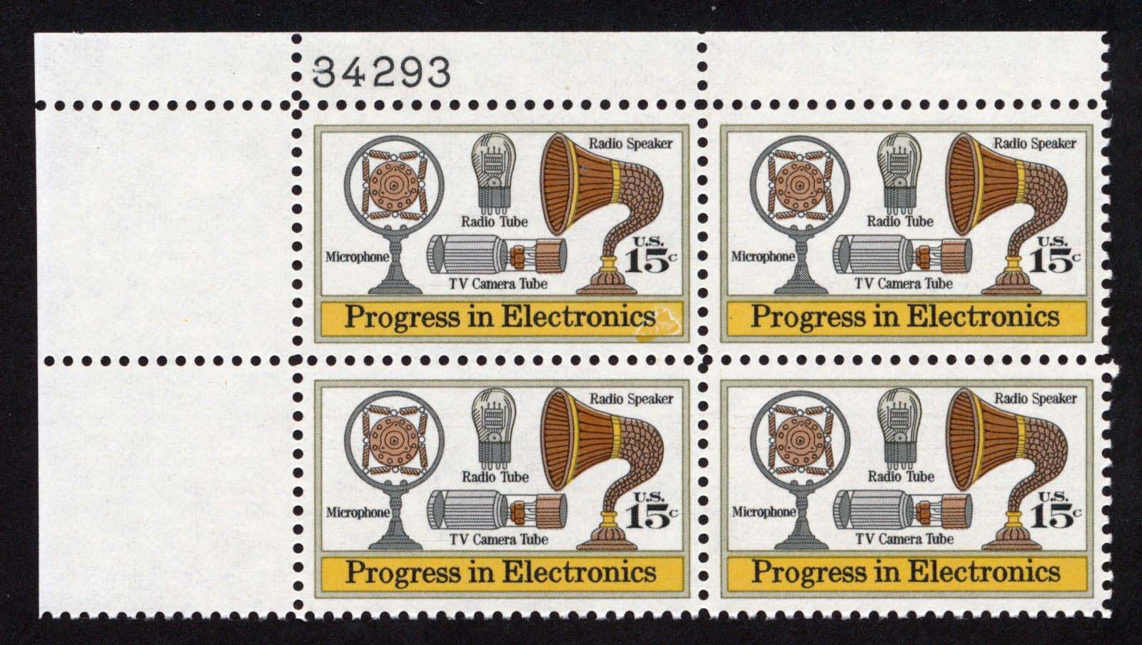 "Scott 1502 Plate Block (15 cents) <p> <a href=""/images/USA-Scott-1502-PB.jpg""><font color=green><b>View the image</a></b></font>"
