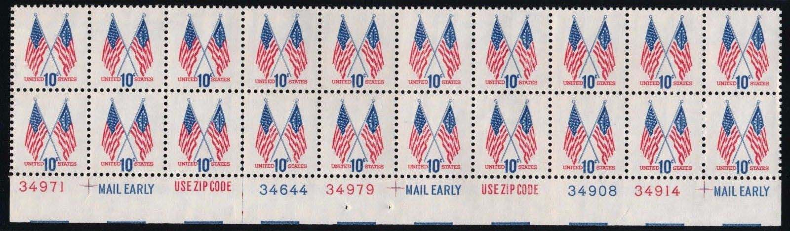 "Scott 1509 Plate Block of 20 (10 cents) <p> <a href=""/images/USA-Scott-1509-PB-20.jpg""><font color=green><b>View the image</a></b></font>"