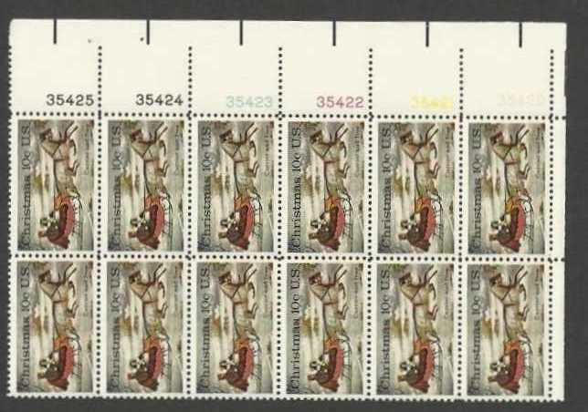 "Scott 1551 Plate Block of 12 (10 cents) <p> <a href=""/images/USA-Scott-1551-PB-12.jpg""><font color=green><b>View the image</a></b></font>"