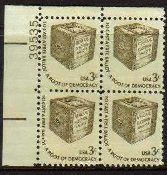"Scott 1584 Plate Block (3 cents) <p> <a href=""/images/USA-Scott-1584-PB.jpg""><font color=green><b>View the image</a></b></font>"