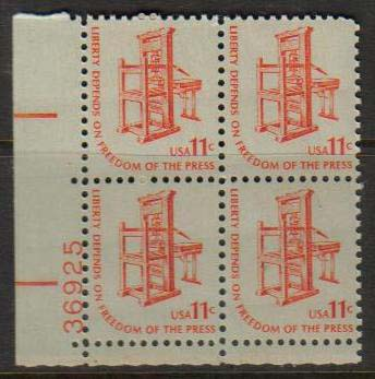 "Scott 1593 Plate Block (11 cents) <p> <a href=""/images/USA-Scott-1593-PB.jpg""><font color=green><b>View the image</a></b></font>"