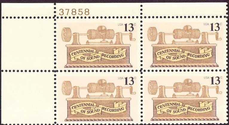 "Scott 1705 Plate Block (13 cents) <p> <a href=""/images/USA-Scott-1705-PB.jpg""><font color=green><b>View the image</a></b></font>"