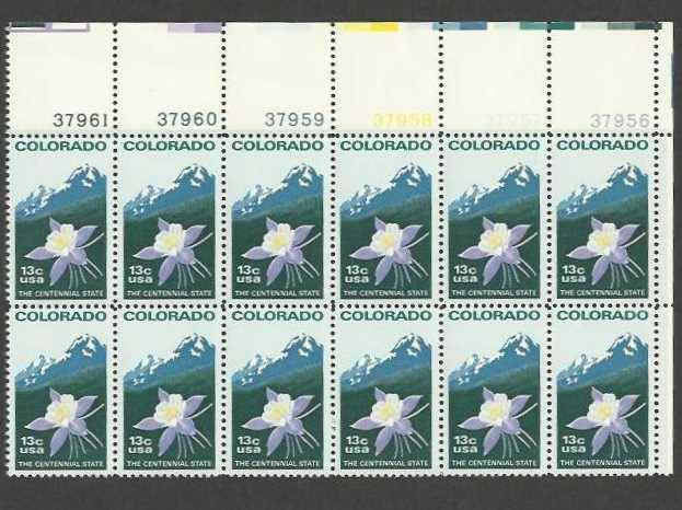 "Scott 1711 Plate Block of 12 (13 cents) <p> <a href=""/images/USA-Scott-1711-PB-12.jpg""><font color=green><b>View the image</a></b></font>"