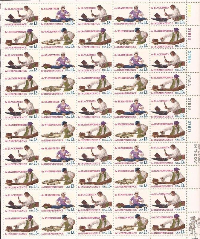 "Scott 1717-1720 Sheet (13 cents) <p> <a href=""/images/USA-Scott-1717-1720-Sheet.jpg""><font color=green><b>View the image</a></b></font>"
