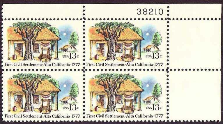 "Scott 1725 Plate Block (13 cents) <p> <a href=""/images/USA-Scott-1725-PB.jpg""><font color=green><b>View the image</a></b></font>"