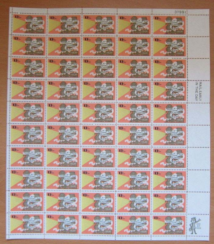"Scott 1727 Sheet (13 cents) <p> <a href=""/images/USA-Scott-1727-Sheet.jpg""><font color=green><b>View the image</a></b></font>"