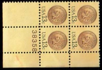 "Scott 1734 Plate Block (13 cents) <p> <a href=""/images/USA-Scott-1734-PB.jpg""><font color=green><b>View the image</a></b></font>"