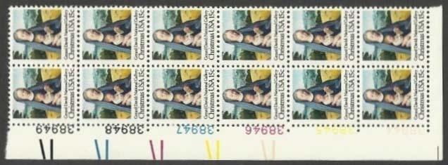 "Scott 1799 Plate Block of 12 (15 cents) <p> <a href=""/images/USA-Scott-1799-PB-12.jpg""><font color=green><b>View the image</a></b></font>"