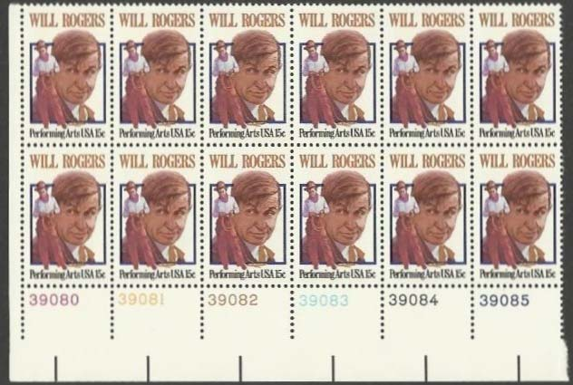 "Scott 1801 Plate Block of 12 (15 cents) <p> <a href=""/images/USA-Scott-1801-PB-12.jpg""><font color=green><b>View the image</a></b></font>"