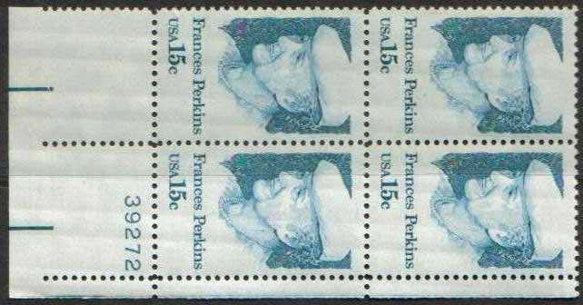 "Scott 1821 Plate Block (15 cents) <p> <a href=""/images/USA-Scott-1821-PB.jpg""><font color=green><b>View the image</a></b></font>"