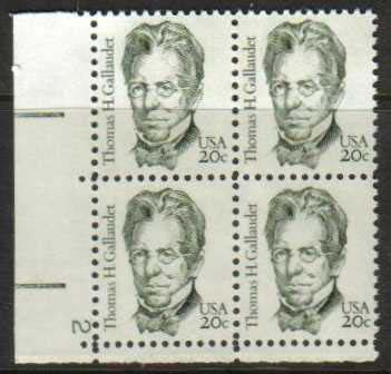 "Scott 1861 Plate Block (20 cents) <p> <a href=""/images/USA-Scott-1861-PB.jpg""><font color=green><b>View the image</a></b></font>"