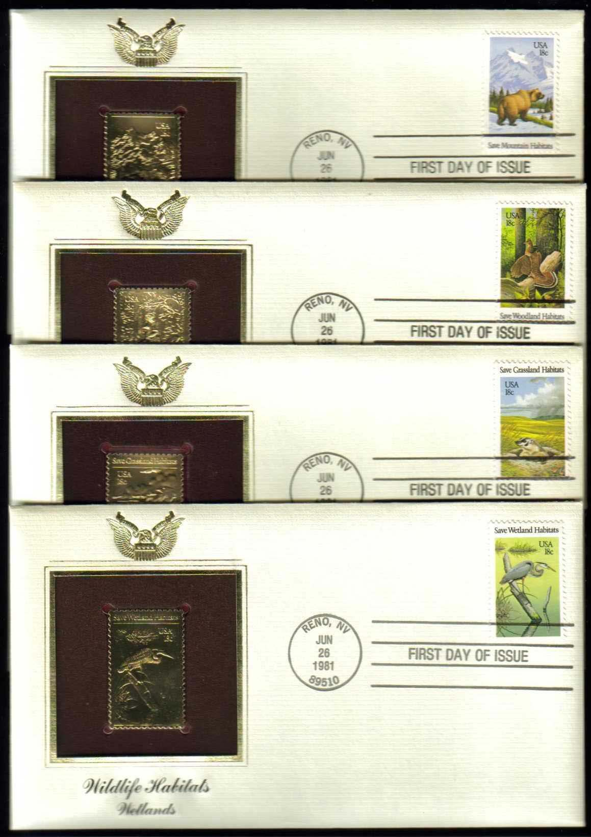 "Scott 1921-1924 Golden Replica (22Kt) unaddressed FDC, Set of 4 <p> <a href=""/images/USA-Scott-1921-1924-Gold.jpg""><font color=green><b>View the image</a></b></font>"