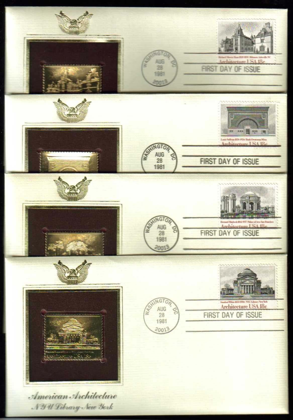 "Scott 1928-1931 Golden Replica (22Kt) unaddressed FDC, Set of 4 <p> <a href=""/images/USA-Scott-1928-1931-Gold.jpg""><font color=green><b>View the image</a></b></font>"